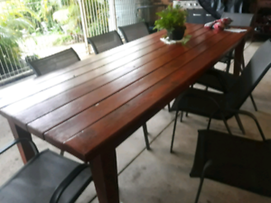 LARGE TABLE WITH 6 WOODEN CHAIRS AS IS