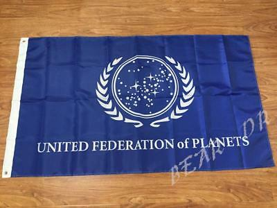 United Federation of Planets Flag 3x5ft Star Trek Banner Home Decorating (Star Trek United Federation Of Planets Blue Flag)