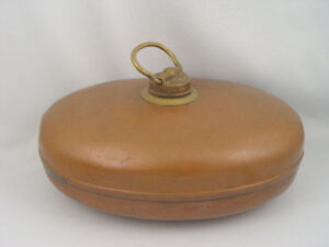 Antique Solid Copper Hot Water Bottle Foot Warmer Bed Warmer