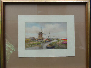 Dutch watercolour..Bright with lovely tulips: Vintage piece! London Ontario image 1