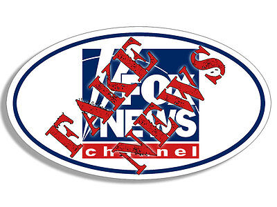 3X5 Inch Oval Fox News Channel Stamped With Fake News Bumper Sticker   Anti Stop