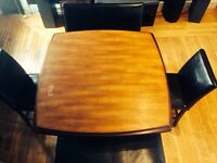 Wooden bar table & 2 leather benches