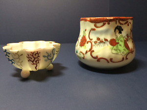 Antique Japanese eggshell porcelain cup and footed accent dish