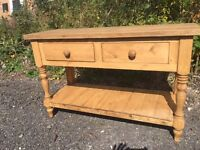 Rustic reclaimed solid wood pine kitchen side console table chunky farmhouse drawers sideboard