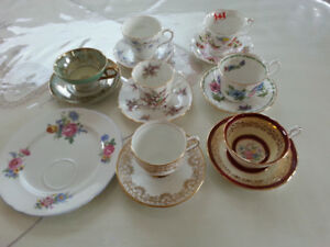 Assorted Tea Cups with Saucers