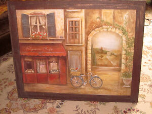 Wood rustic frame and sweet bike ride scene