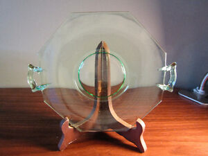 Green Depression Candy Dish - cookie plate handles