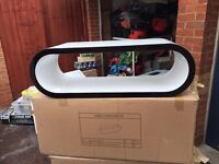Brand new black and white high gloss oval coffee table tv stand rrp £299