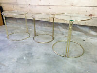 3 Brass and Glass Plant Stands