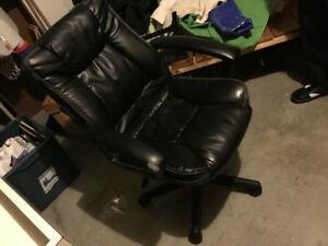 Leather black office computer chair