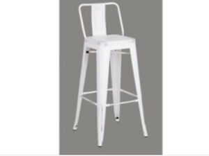 4 Rochelle White Low Back Metal Stools