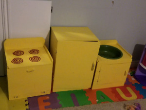 Kids wooden fridge, stove and sink
