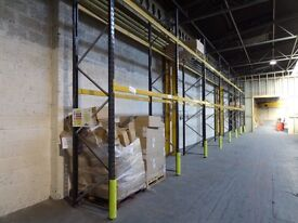 7 bays of 4m x 0.9m pallet wracking with 2.5m open crossbeams and rack protectors