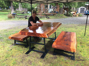 Live edge red cedar picnic table