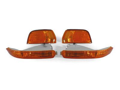 4PCS COMBO DEPO JDM Amber Corner + Bumper Signal Lights For 92-93 Honda Accord 93 Honda Accord Corner