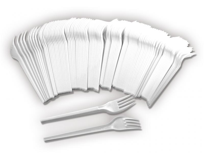 Plastikgabel Einweggeschirr weiß Kunststoff Gabel Einweggabel - Grillparty etc.