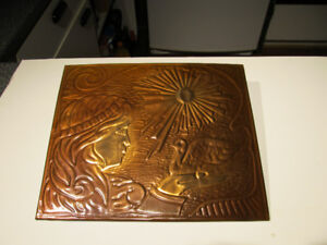 """11"""" x 9"""" hand crafted copper art on wooden plaque."""