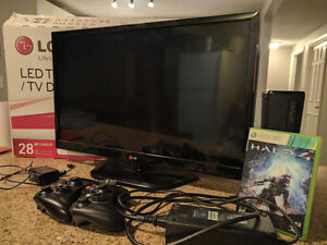 Used/ Xbox360 + Halo 4/ Bonus 28Inch LG LED TV/ Make an offer