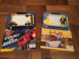 Blaze and Beauty and the Beast books with magnetic drawing boards