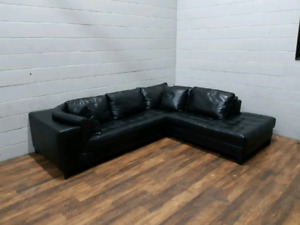 Free Delivery: Natuzzi Black Leather Sectional