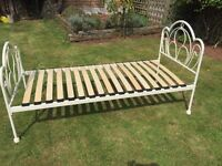 Single Cream Metal Frame Bed