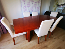 Cherry Hardwood Dining Table and 6 chairs