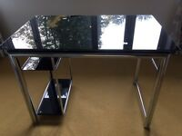 Black glass and metal desk