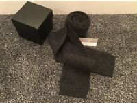 Slim Ribbed Charcoal Cashmere Scarf