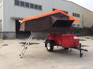 Off-road camper, travel trailer with roof top tent