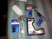 Air Tools - HVLP paint gun, impact gun, air chisel and parts