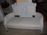 Antique painted East Lake settee -brass claw and glass ball feet