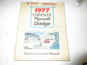 1977 CHRYSLER DODGE PLYMOUTH –ELECTRICAL SERVICE MANUAL
