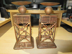 PAIR OF BEAUTIFUL MATCHING - HEAVY - COPPER - CANDLE HOLDERS
