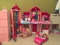 Barbie house, car, bike, barbies and clothes