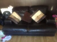 Brown leather sofas 2 seater and corner sofa