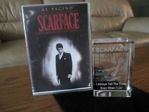 Scar face glass etched glass statue and movie Kitchener / Waterloo Kitchener Area image 1