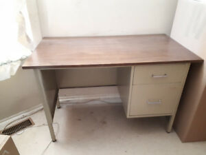 vintage office/teacher's wood desk with two drawers $30 or best