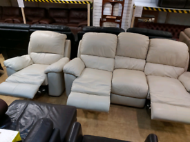 FREE DELIVERY cream leather 3+1 electric recliner suite