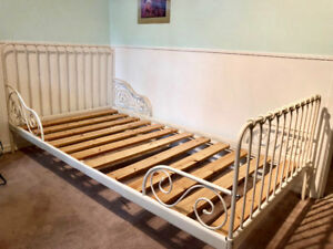 Ikea extendable white metal bed