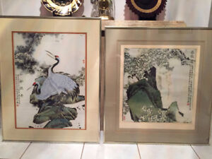 Pair of Nice Framed Prints of Famous Chinese Paintings $Red'd