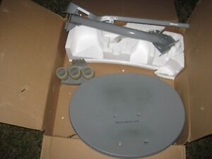Satellite dish 3 LNB with the receiver, dish size 53cm x 47cm.