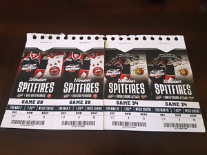 Spitfires tickets Glass seats 2 to each game Mar 2nd/Mar 16th