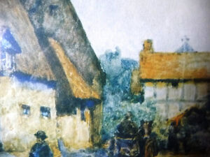 "Street Scene Lithograph by Rhys Jenkins ""Bunyans Cottage Elstow"" Stratford Kitchener Area image 8"