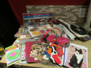 LARGE LOT OF CRAFT RIBBON AND CARDS