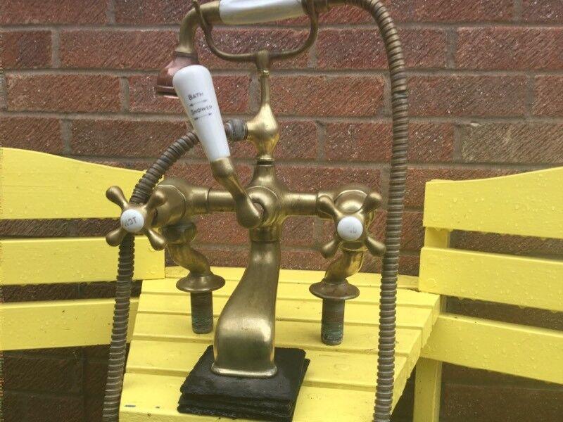 Vintage Brass Bath Taps Telephone Shower Attachment | in Whetstone ...