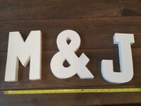 M & J Cardboard letters