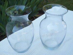 Two large hand blown glass vases