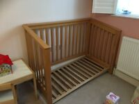 Mamas and Papas oak style cot bed/toddler bed