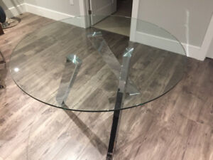 Modern Dining Table with Chrome Legs. Made by Sunpan