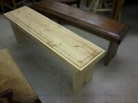 """Custom Length Solid 2"""" Pine Harvest Table Benches P249"""